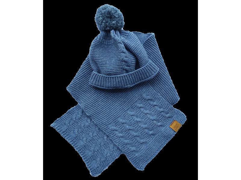 Conjunto Gerard Azul Jeans - Touca e Cachecol - Mini Lord