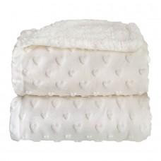 Cobertor Sherpam Hearts Branco - Laço Bebê