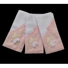 Kit c/ 03 Fraldas de Boca - Ursinha Bailarina Rosa - VagaLume Baby