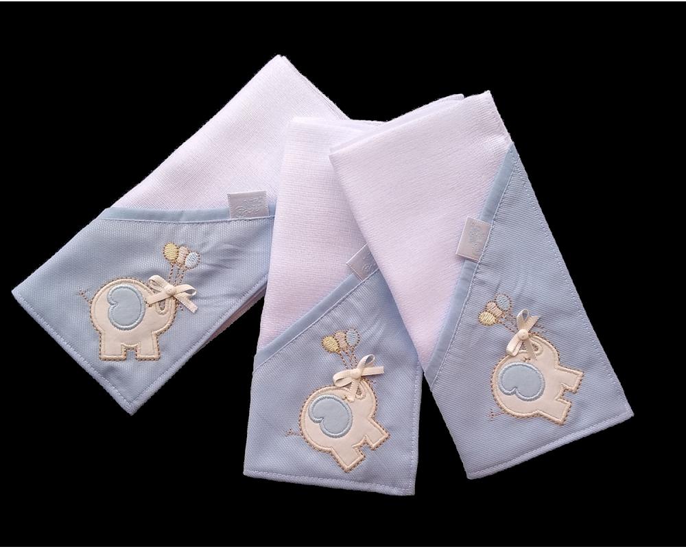 Kit c/ 03 Fraldas de Boca - Elefante Azul - VagaLume Baby