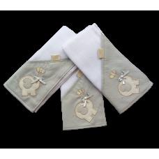 Kit c/ 03 Fraldas de Boca - Elefante Cinza - VagaLume Baby