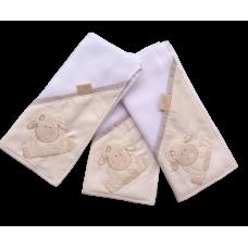 Kit c/ 03 Fraldas de Boca - Ovelha Bege - VagaLume Baby