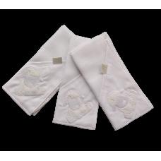 Kit c/ 03 Fraldas de Boca - Ovelha Branco - VagaLume Baby