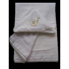 Toalha de Banho Aveludada - Elefante Cinza - VagaLume Baby