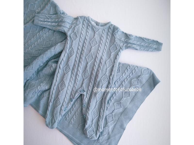 Kit Saída de Maternidade Jordan - Azul Gris - Mini Lord