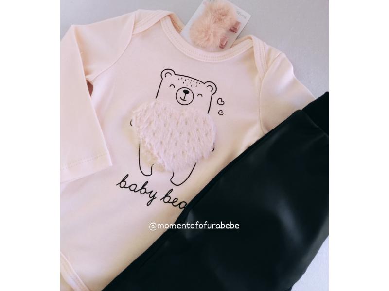 Body Manga Longa - Urso Rosa Coração - Kukiê