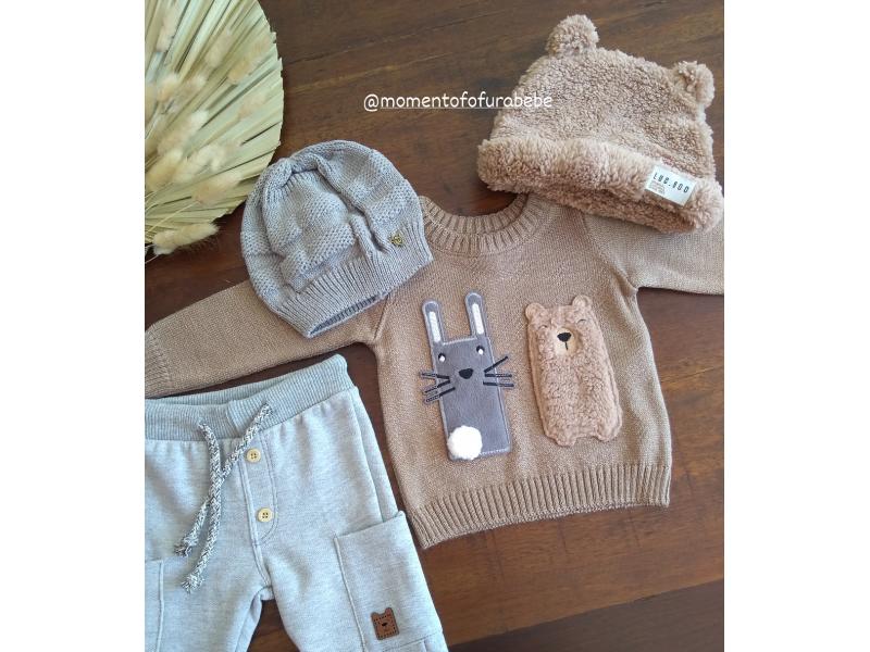 Blusão em Tricot Amigos Coelho e Urso - Marrom Claro - LucBoo