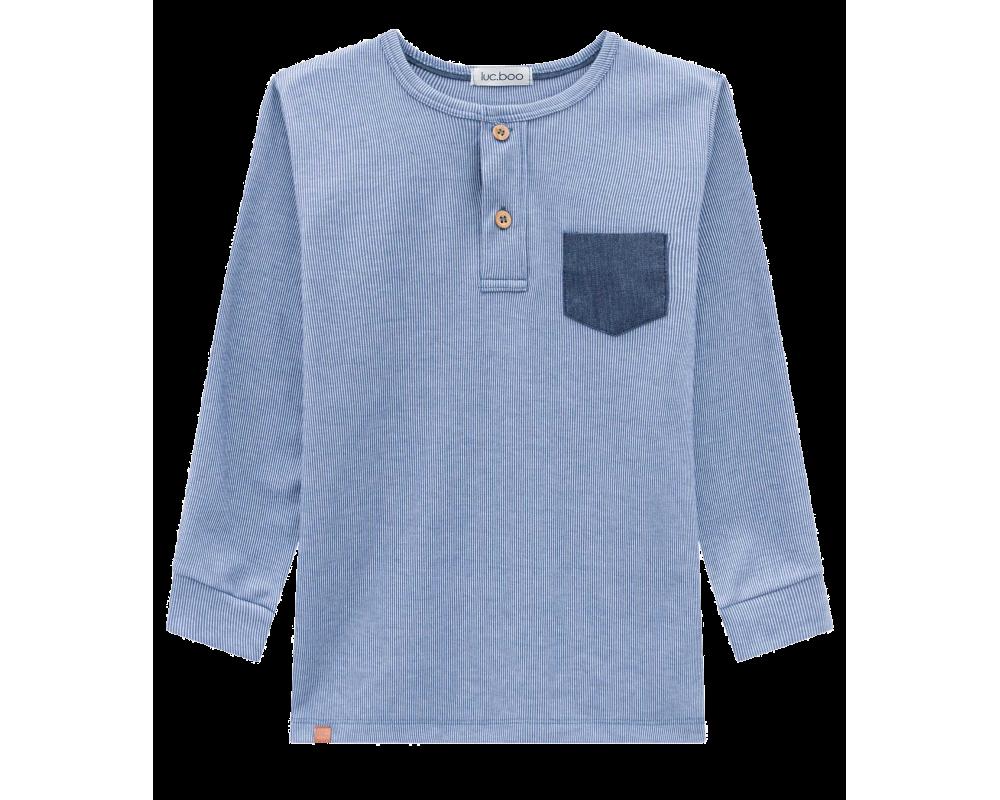 Camiseta Manga Longa Suedine Canelado - Azul Jeans - LucBoo