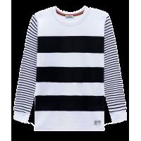Camiseta Manga Longa Branca - Listras Pretas - LucBoo