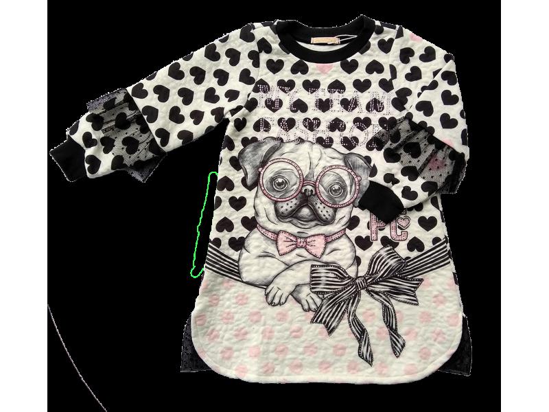 Vestido Manga Longa Fashion Pug - Petit Cherie