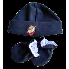 Kit Touca e Luva - Cavalinho Azul Marinho - Mini Bear