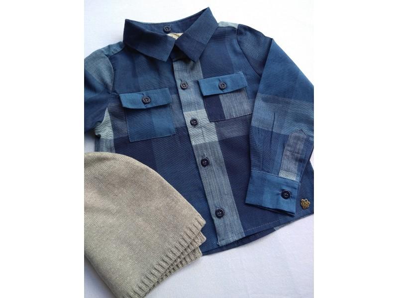 Camisa Gabriel - Xadrez Azul - Mini Lord