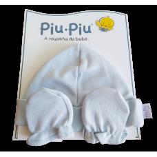 Kit Touca e Luva - Baby Azul - PiuPiu