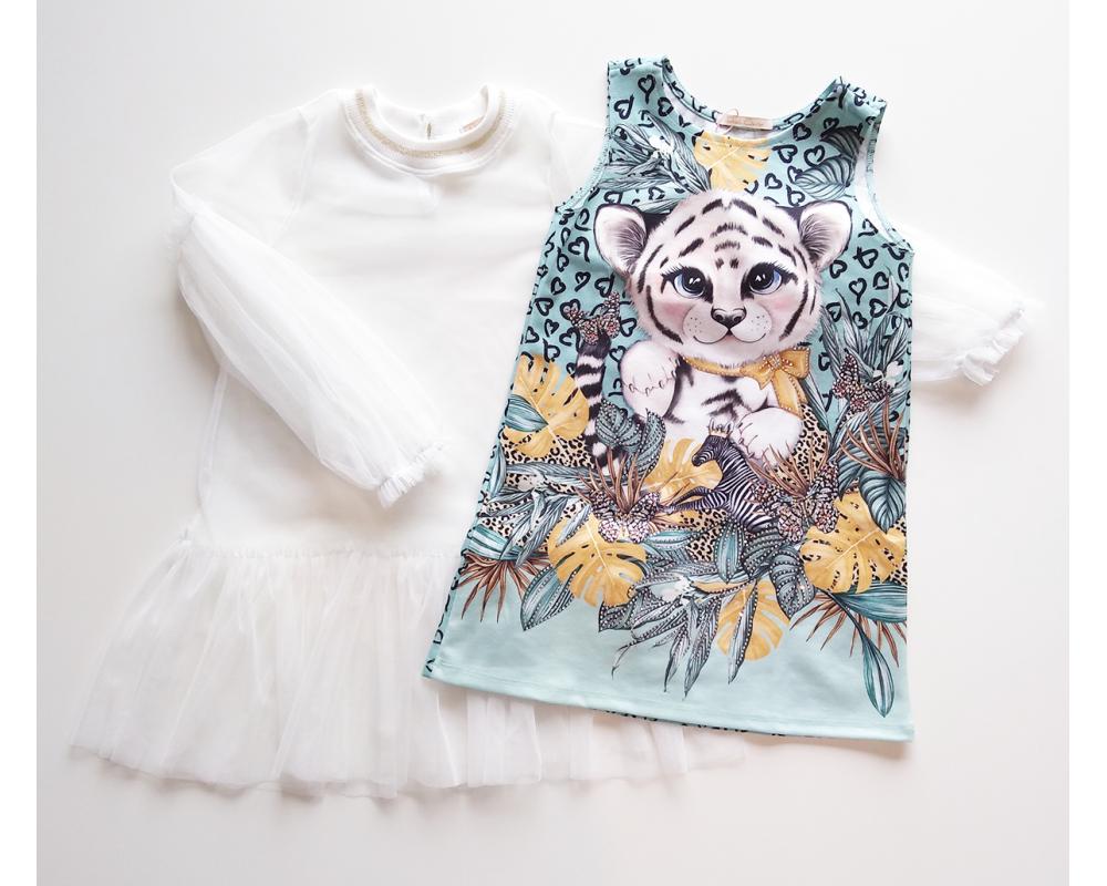 Vestido Tigre Branco - Duplo - Petit Cherie