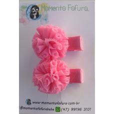Pompom Tule Rosa - Par