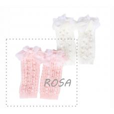 Polaina Rosa Com Pérolas - YoLoveYo