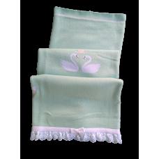 Manta Tricot Cisne - Verde Água com Branco - Petit Mouton