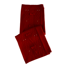 Manta Tricot Aran 3 Laços - Vermelho - Petit Mouton