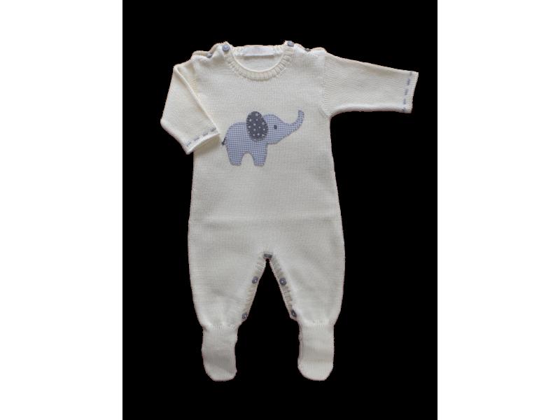 Macacão Tricot Elefantinho - Amarelo Bebê