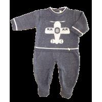 Macacão Tricot Avião - Azul Jeans - Petit Mouton