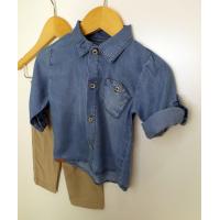 Conjunto Bebê Calça Veludo Com Camisa Jeans - Upi Uli