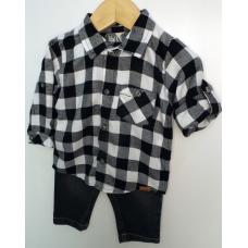 Conjunto Menino Calça Jeans Com Camisa Xadrez Preto e Branco - Upi Uli