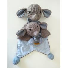 Kit Naninha e Chocalho Crochet - Elefantinho Azul