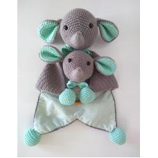 Kit Naninha e Chocalho Crochet - Elefantinho Verde