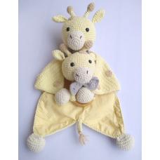 Kit Naninha e Chocalho Crochet - Girafinha Menino