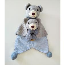 Kit Naninha e Chocalho Crochet - Urso Azul