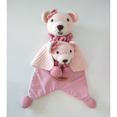 Kit Naninha e Chocalho Crochet - Urso Rosa
