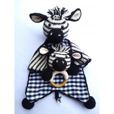 Kit Naninha e Chocalho Crochet - Zebrinha