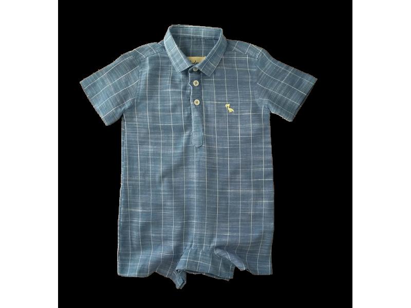 Macacão Camisa Xadrez Azul - Dudes