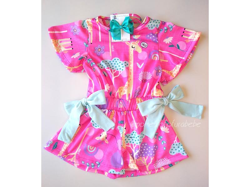 Macaquinho Pink Dona Girafa - Kukiê