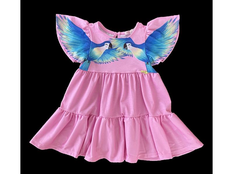 Vestido Tropical Birds Rosa - Mon Sucré