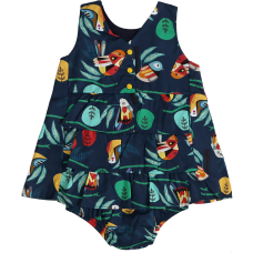 Vestido Bebê Pássaros - Marinho - Precoce