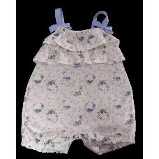Macacão Curto Floral Azul - Petit Cherie