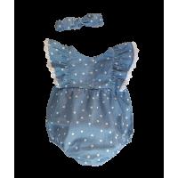 Macacão Curto Jeans Coração - com Faixinha - Petit Cherie